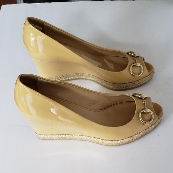 7256c879462 Gucci Shoes - GUCCI TAN LEATHER HORSEBIT PEEP TOE WEDGE HEEL